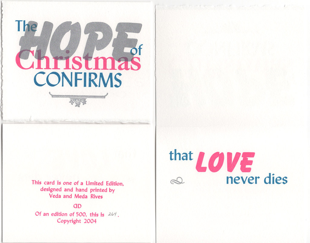 "Christmas Card pack of 5 with envelopes ""The Hope of Christmas Confirms"""