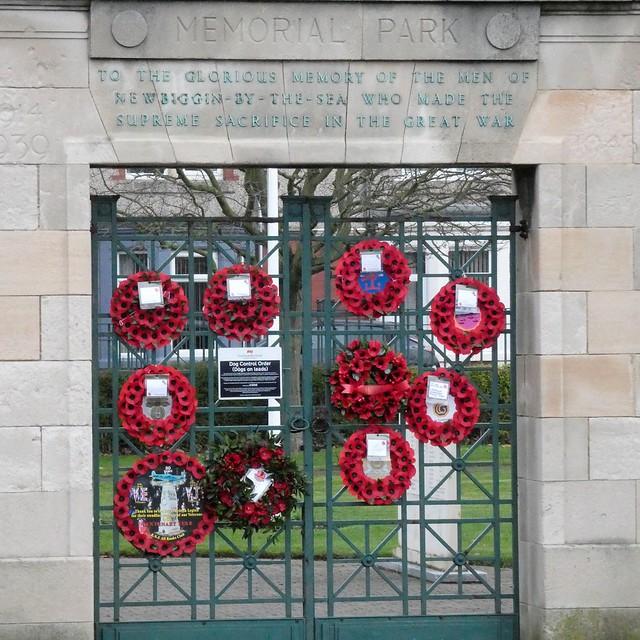 Poppy Wreaths - Memorial Park Newbiggin