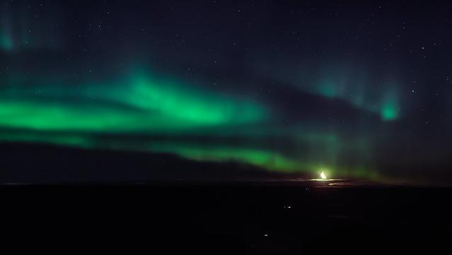 Moon and northern lights