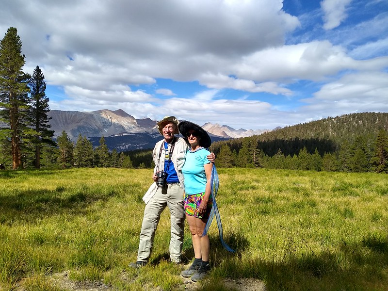 The two of us posing at Sandy Meadow on the PCT-JMT-HST using a cell phone camera on timer mode
