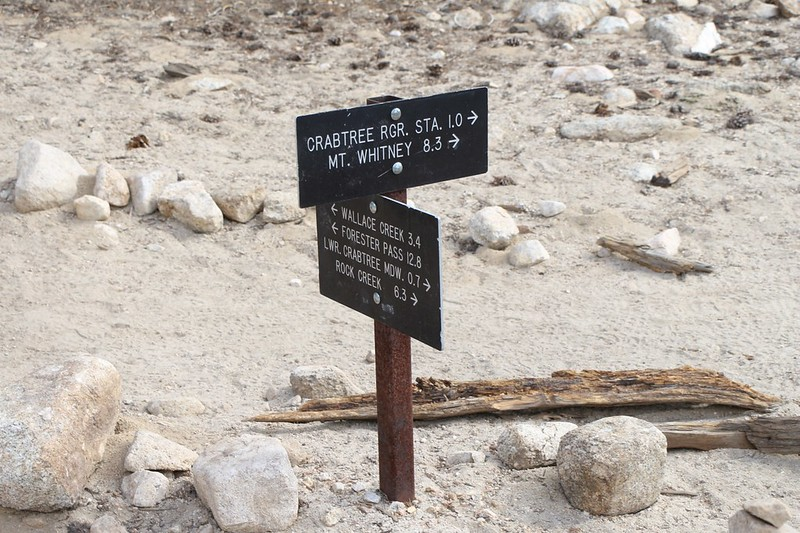 Trail sign on the PCT where the Mount Whitney Trial begins, and we join the John Muir Trail and High Sierra Trail