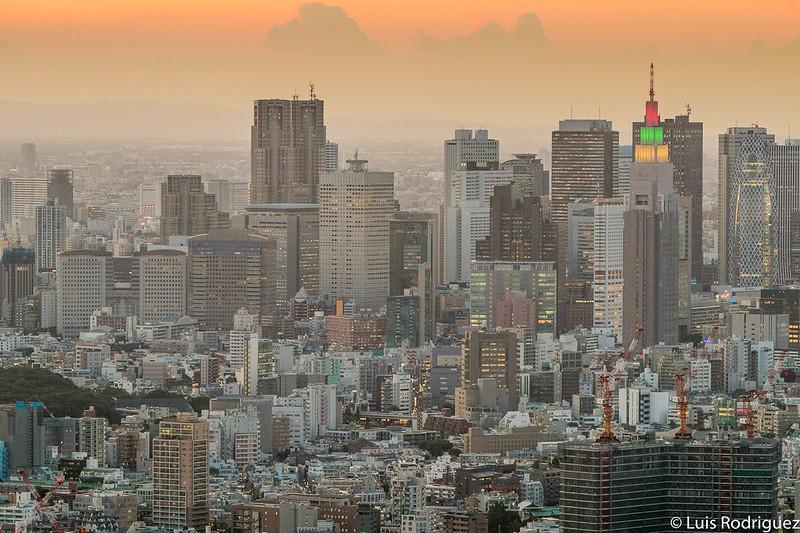 Vistas de los rascacielos de Shinjuku