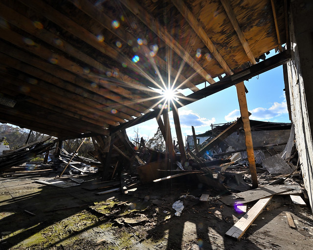 Sunstar in ruined factory