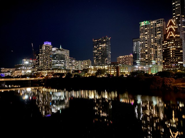 Austin lights at night over Lady Bird Lake