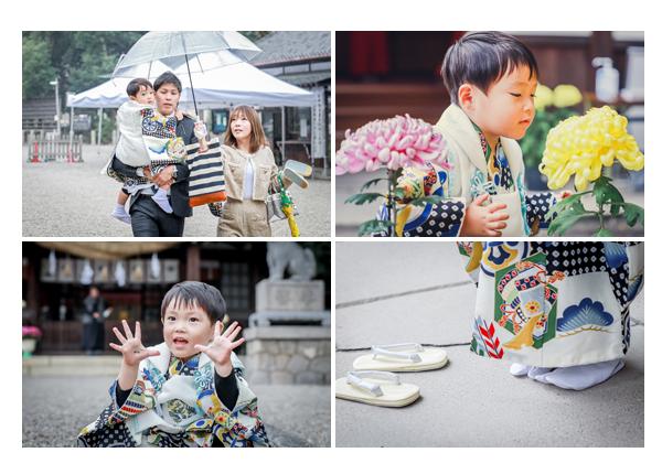 雨上がりの知立神社で七五三 透明な傘
