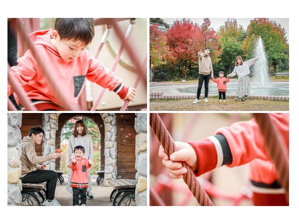 愛知県刈谷市のミササガパーク 紅葉 噴水 シャボン玉