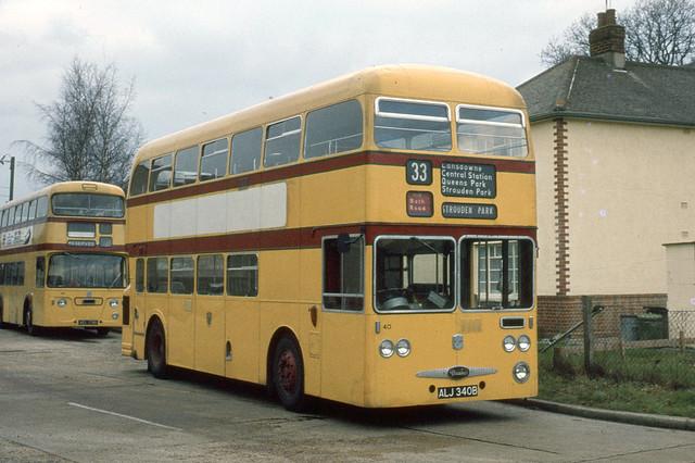 Bournemouth Transport . 40 ALJ340B . Mallard Road Garage , Bournemouth , Dorset . Saturday afternoon 29th-January-1972