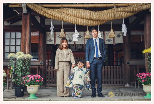 知立神社で七五三 親子の写真 家族写真