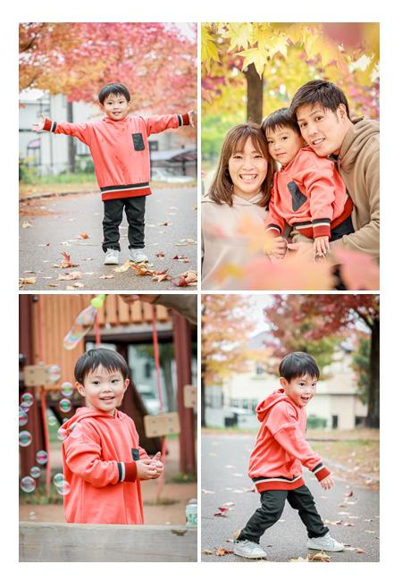 紅葉の季節のロケーション撮影 11月の公園で家族写真