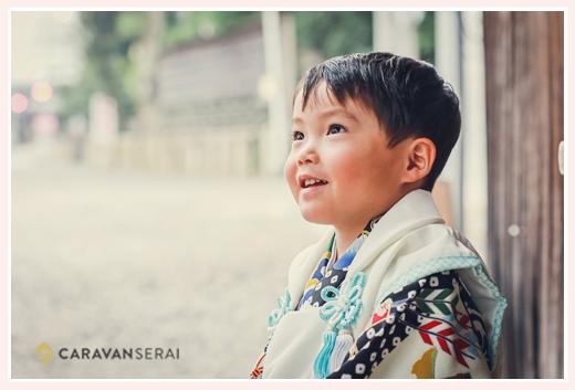3歳の男の子の七五三 笑顔