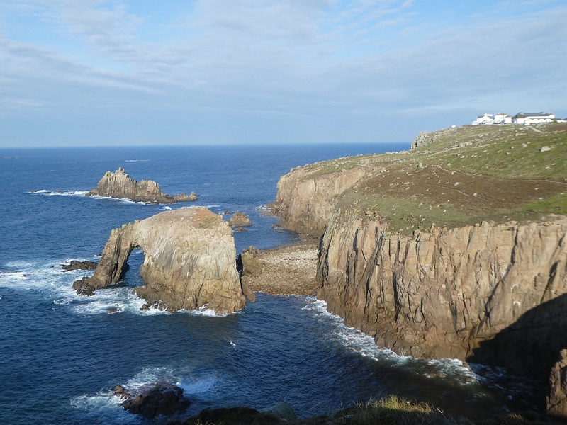 Dramatic rock arches off the Land's End coastline