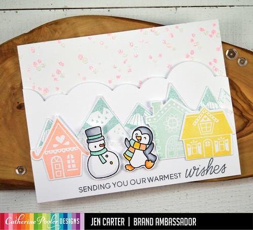 Jen Carter Alpine Village Mountain Thanks CP Heffy Doodle Penguin Snowman Wow Warmest Wishes