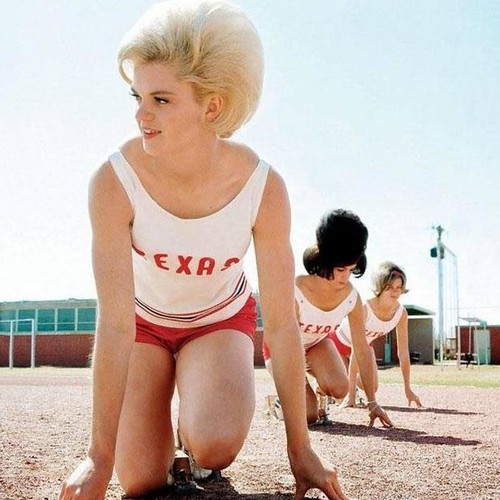 The University of Texas women's track team at practice, 1964