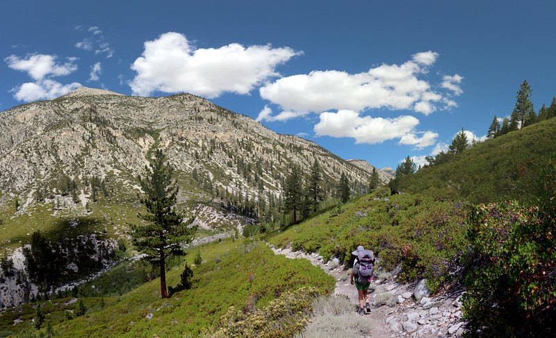 The High Sierra Trail heads down into Kern Canyon, with the Upper Kern River on the right