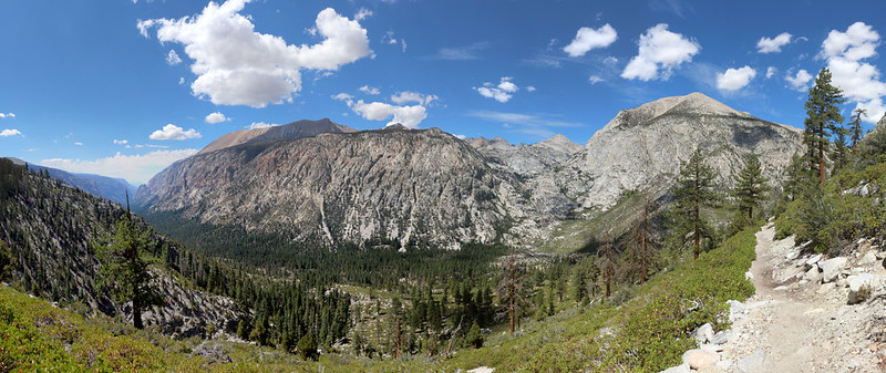 Panorama view of Kern Canyon from the High Sierra Trail north of Wallace Creek