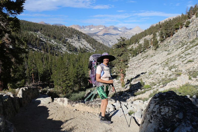 Vicki is having a great day as we continue down Wallace Creek on the High Sierra Trail