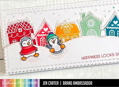 Jen Carter Alpine Village CP Heffy Doodle Penguins Wow Happiness Closeup 33