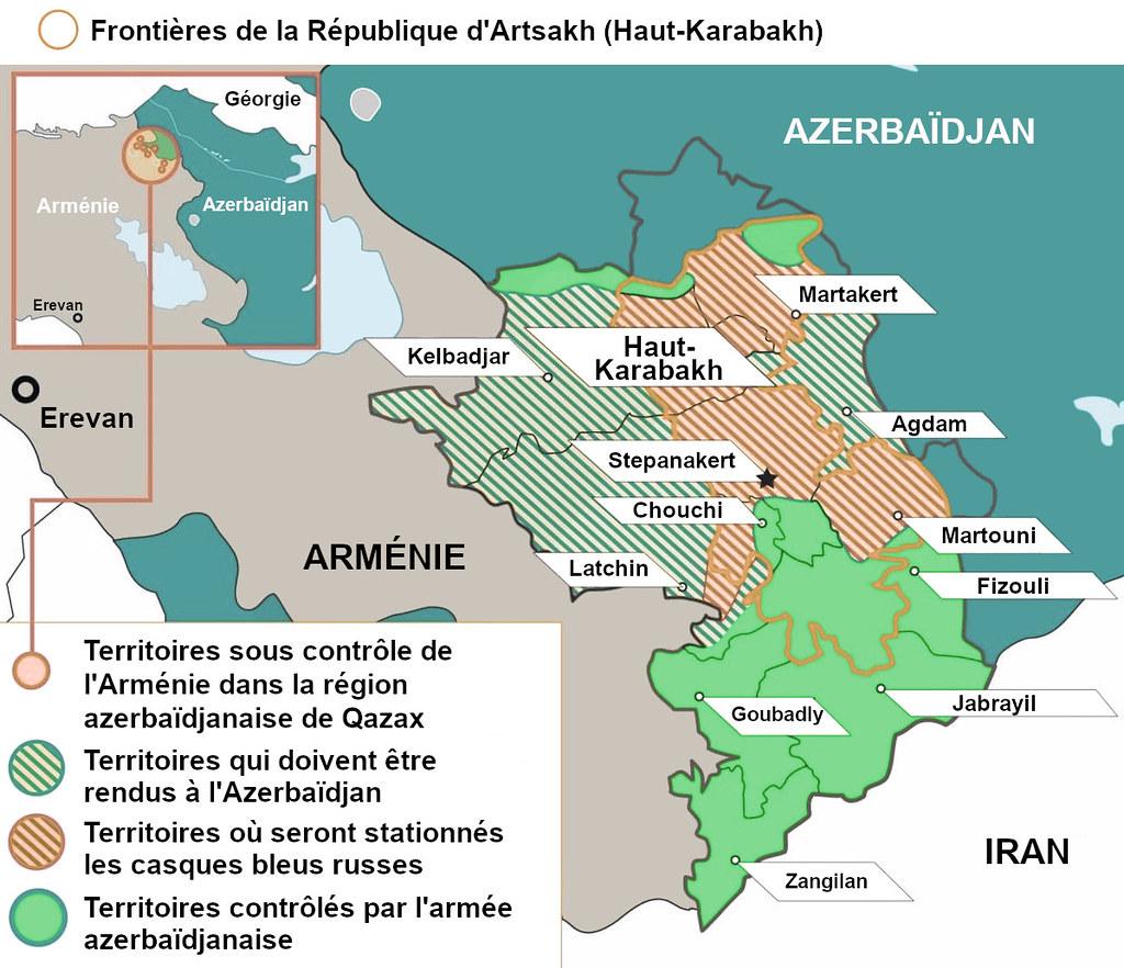 Carte du Haut-Karabakh suite à l'accord signé