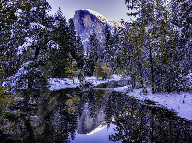 Half Dome and Reflection in Winter Yosemite National Park