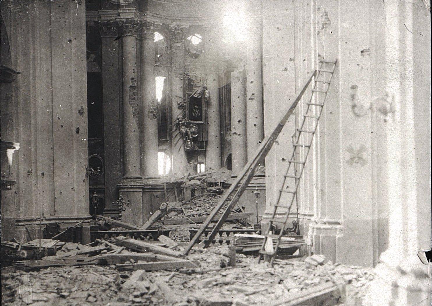 1914. Костёл, разрушенный немцами в начале I Мировой войны.Ракитское  (2)