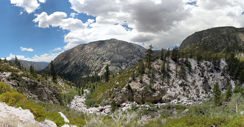 Panorama view southwest from the High Sierra Trail as we head downhill toward Junction Meadow
