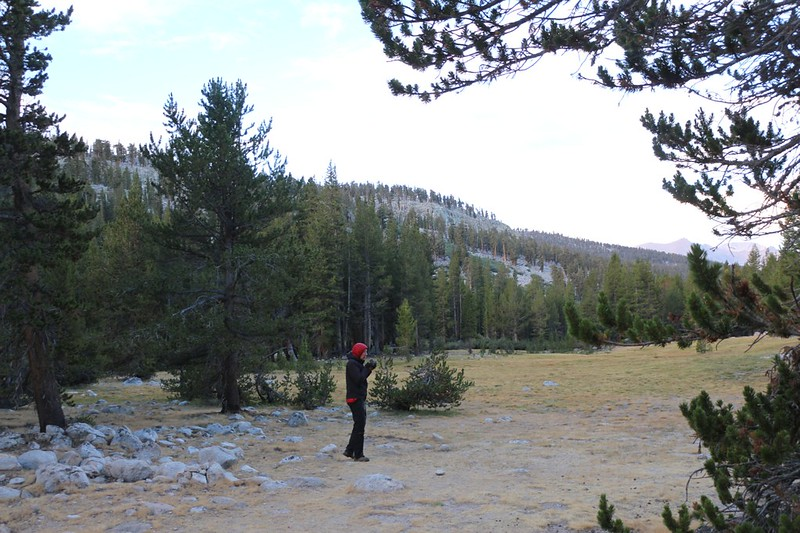 Me, drinking my morning coffee in the chill dawn air of the Wallace Creek campsite on the PCT-JMT-HST