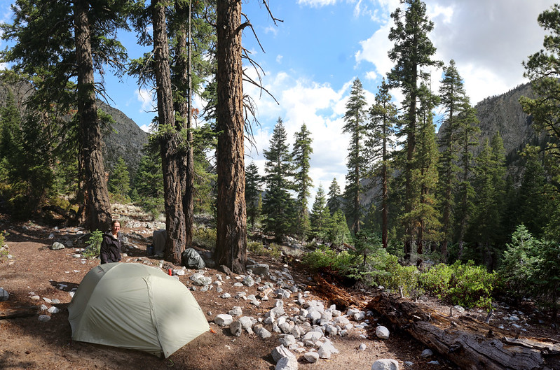 Our tent and campsite down in Kern Canyon near Whitney Creek on the High Sierra Trail