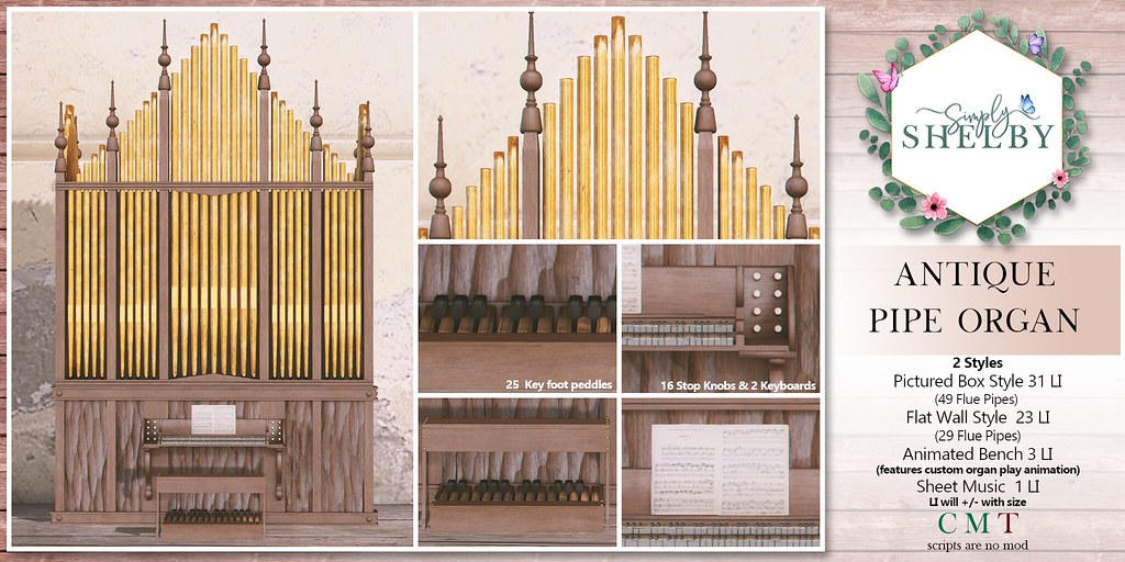 Simply Shelby Antique Pipe Organ