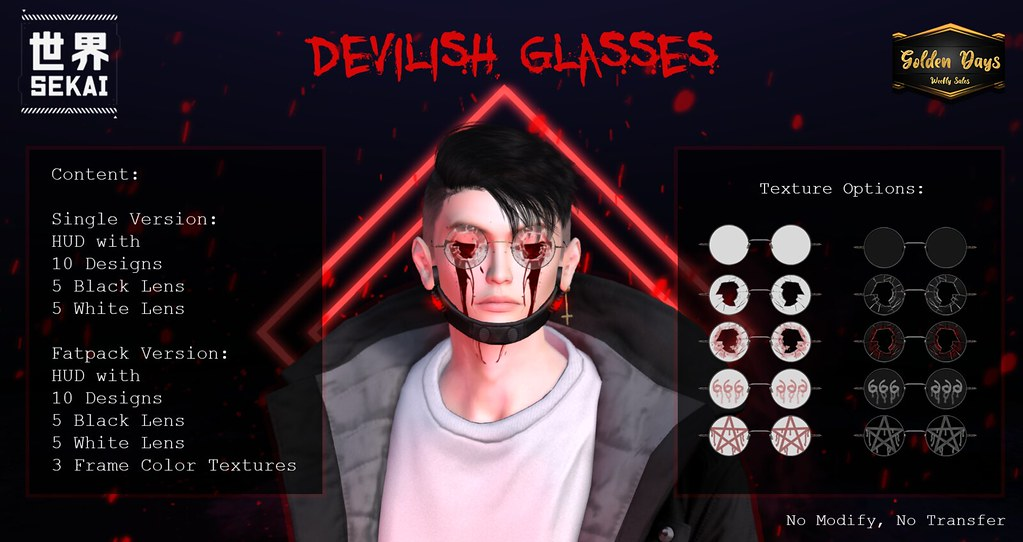 Devilish Glasses Fatpack – Golden Days – Discount 55L$