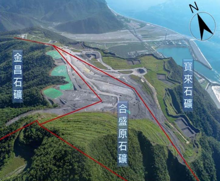 金昌礦區緊鄰寶來、合盛原兩礦場,三個礦場合起來就是這座被斷頭的勇士山山頭。圖片來源:會議資料