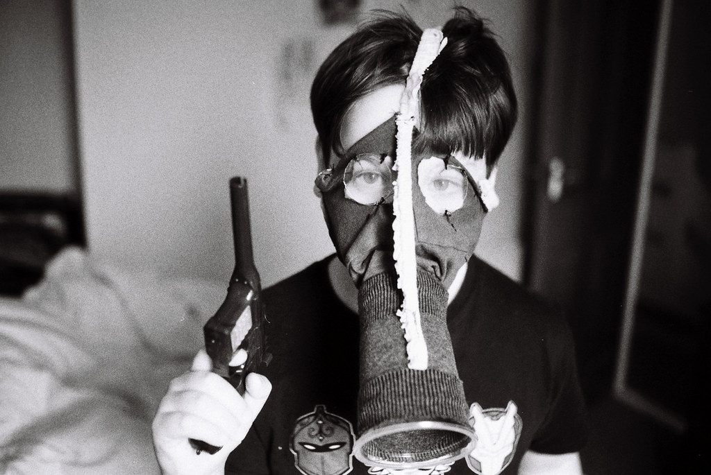 Son, With Homemade Gas Mask.