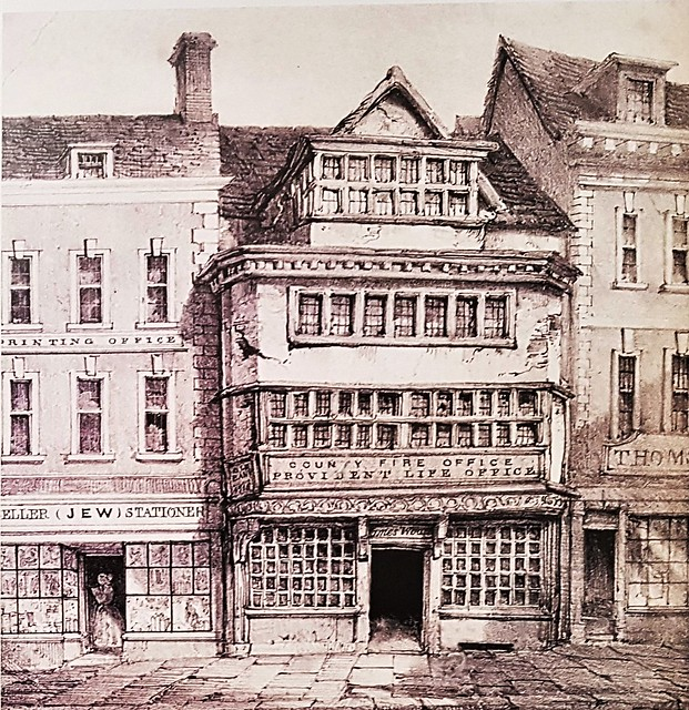 Gloucester, the Folk Museum - Painting of the County Fire Office and Provident Life Office in Westgate Street