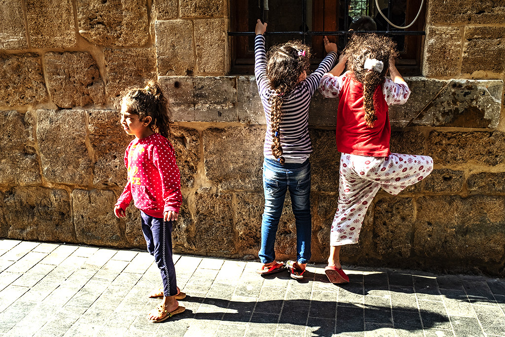 Girls outside mosque in souq on 11-11-20--Sidon