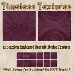TT 12 Seamless Embossed Brocade Merlot Timeless Textures