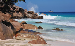 Swimming beach on La Digue in the Seychelles