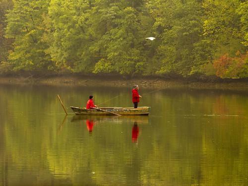landscape ilfov romania fishermen lake water autumn fall nature colors boat