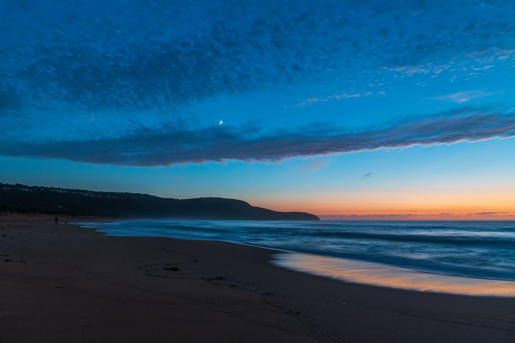 High cloud, partial moon and a pretty blue dawn at the beach