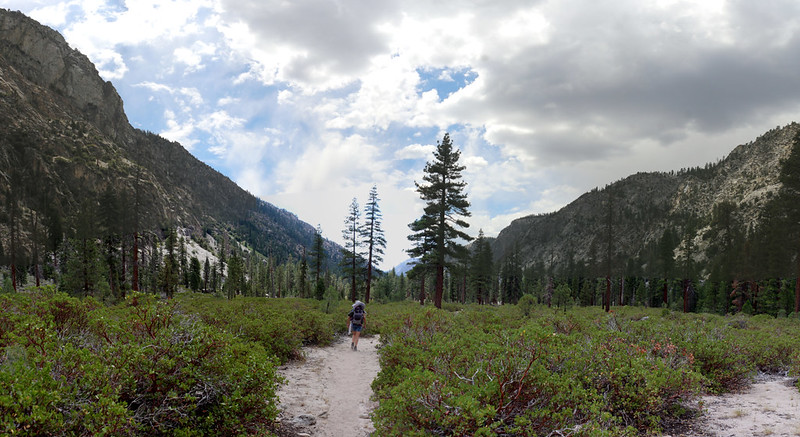 Hiking down Kern Canyon on the High Sierra Trail as we head toward Funston Meadow