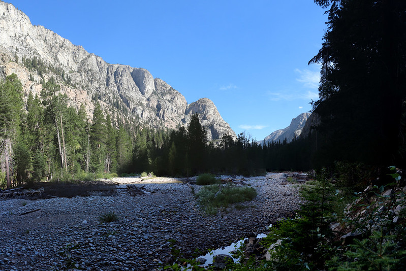 Looking north up Kern Canyon toward the narrows from the High Sierra Trail