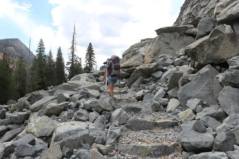 This newer part of the High Sierra Trail was built through a slide of talus, and was annoying to walk on due to the rocks