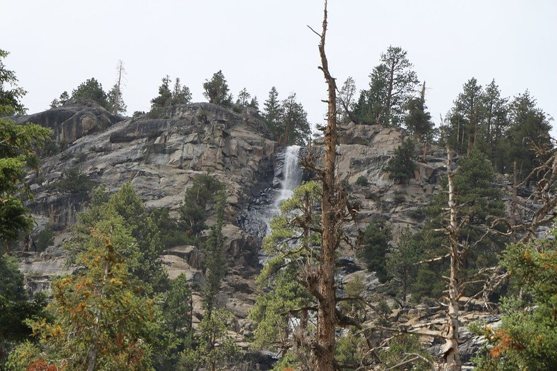 Zoomed-in view of Chagoopa Falls up at the top of the granite walls in Kern Canyon on the High Sierra Trail