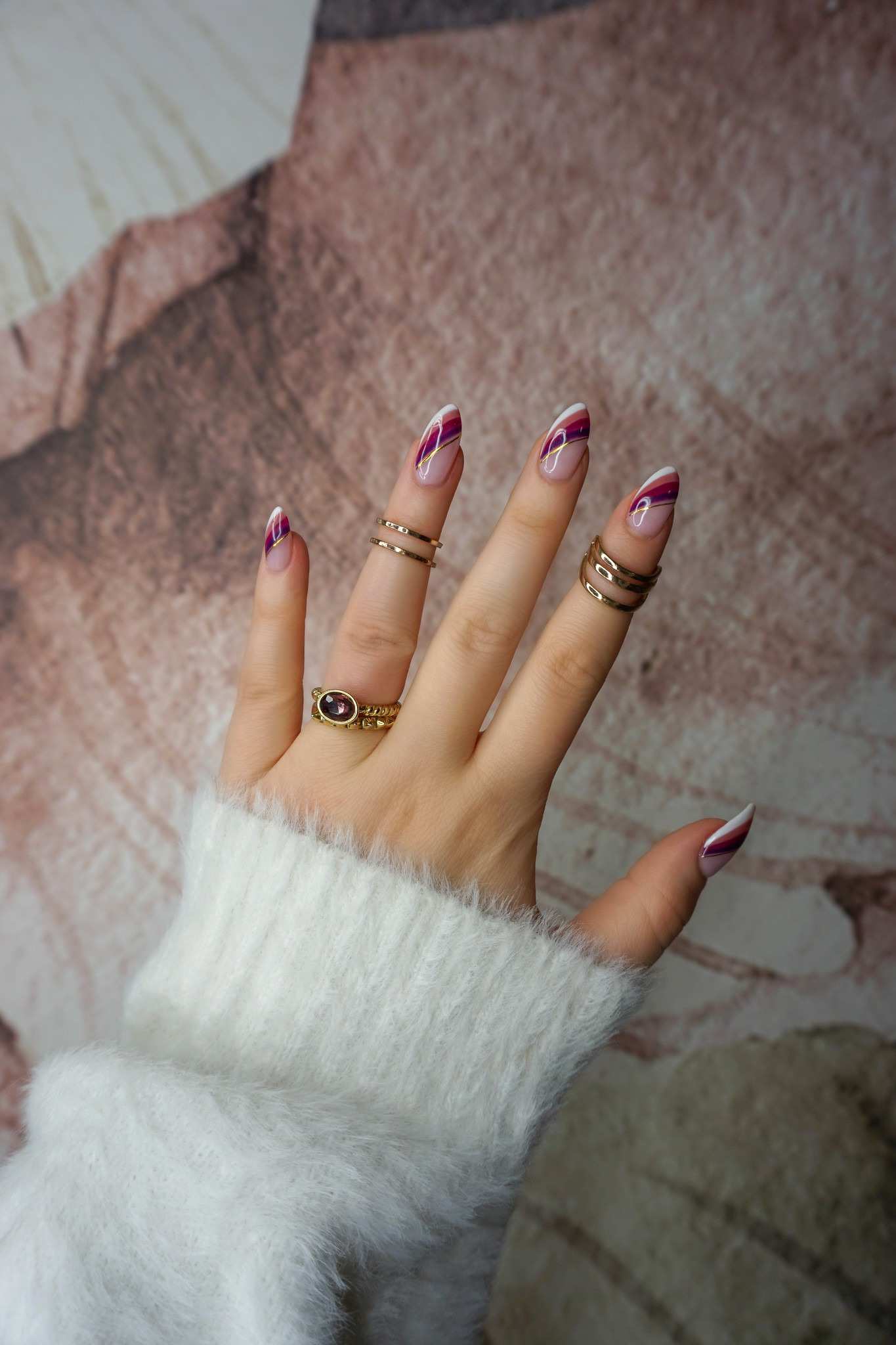 Fall French Twist Nails | Unique French Manicure | Fall Nails | Thanksgiving Nails | November Nails | Nail Ideas | Nail Art Inspiration | Nail Designs | Autumn Rainbow Mani | Gold Rings | Almond Shaped Nails
