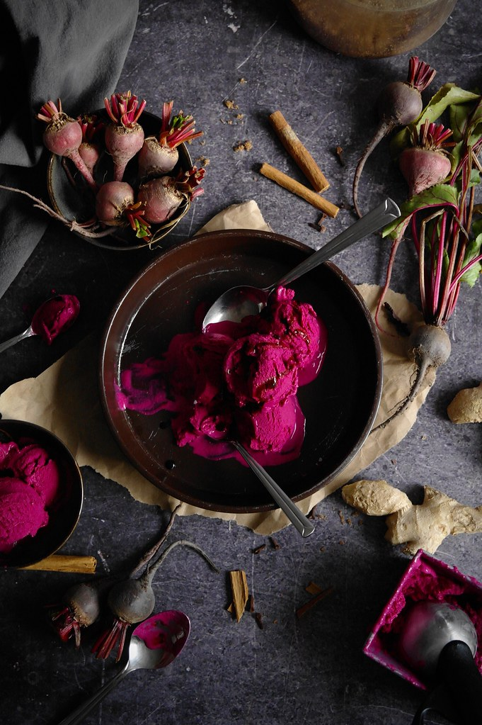 red beet gingerbread ice cream