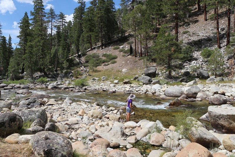 Vicki cooling off her feet in the Kern River at Kern Hot Springs