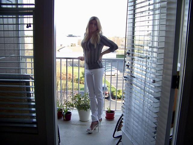 Amanda Standing in the Doorway on Porch