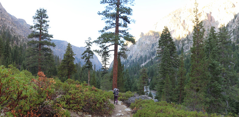 Panorama shot as we hike south in Kern Canyon on the High Sierra Trail