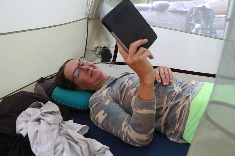 Vicki taking an afternoon rest in our tent down in Kern Canyon at the Upper Funston Meadow campground