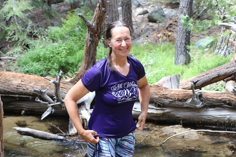 It was still hot, so Vicki soaked her shirt in icy water from a small stream that we crossed on the High Sierra Trail