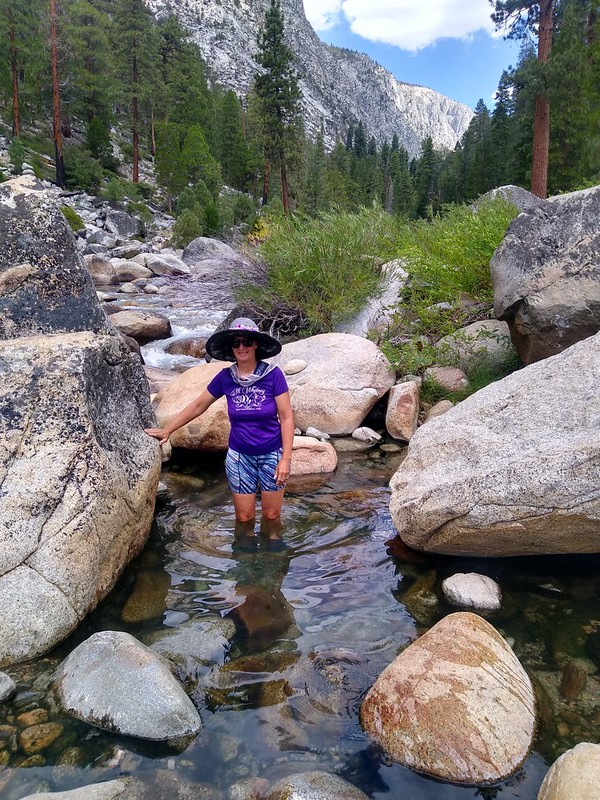 Vicki in the warm rocky pool at Kern Hot Springs
