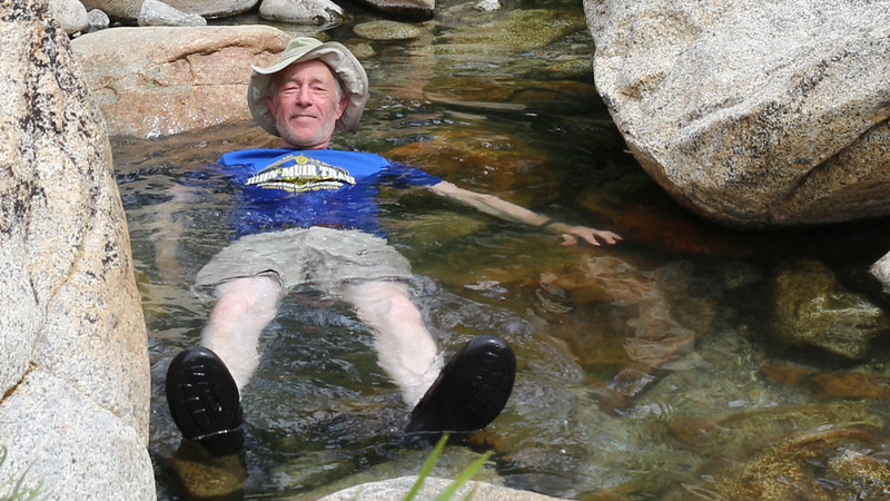 I decided to take a brief dip in the warmer water next to the river rather than submerge in the Kern Hot Spring itself